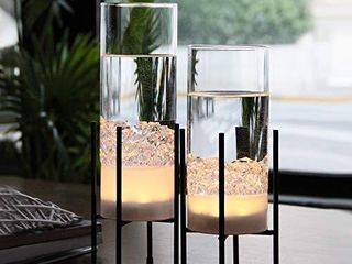 Flower Vase for Decor  Glass Table Vase Set  Clear Vase with Gold Stand  Modern Decorative with Timer lED lights Battery Operated  Centerpiece Wedding Party  Set of 2