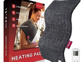 Heating Pad  Comfytemp 12 x 24In Electric Heating Pad for Cramps Relief  Xl Soft Heat Pad with 9 Heat Settings  5 Timers  Stay On  Memory Function for Neck and Shoulders  Back Pain Relief  Washable