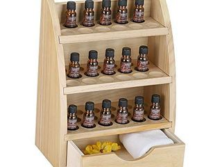 lIANTRAl Essential Oils Storage Rack  Wooden Nail Polish Display Holder Organizer  45 Slots for 10 15 20 30ml Bottles  Natural Wood Color