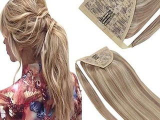 VeSunny Ponytail Hair Extensions Ash Blonde Highlighted Clip in Ponytail Extensions Remy Human Hair 14inch Wrap Around Ponytail Hair Blonde Highlighted Pony Tail 80g