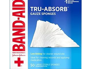 Band Aid Brand First Aid Products Tru Absorb Gauze Sponges for Cleaning Wounds  4 in x 4 in  50 ct