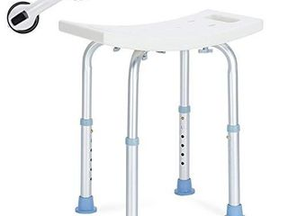 OasisSpace Shower Chair  Adjustable Bath Stool with Free Assist Grab Bar   Medical Tool Free Anti Slip Bench Bathtub Stool Seat with Durable Aluminum legs for Elderly  Senior  Handicap   Disabled