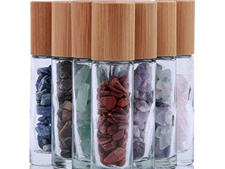 10ml Roll On Bottle For Essential Oils 10 Pack Clear Glass Roller Bottles With Natural Crystal Gemstone Roller Balls Top Bamboo lid Thick Glass Essential Oil Bottles Healing Crystal Chips Inside
