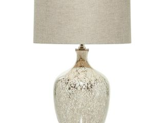 lITTON lANE 16 in  x 26 5 in  Silver Beige Mercury Glass lighting Table lamp with Beige Drum Shade