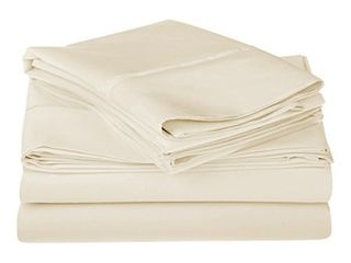 1200 Thread Count 100  Premium long Staple Combed Cotton  Single Ply  Queen Bed Sheet Set  Solid  Ivory