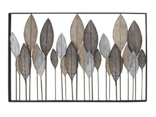 Decmode   59 inch x 37 inch large Textured Brown  White  Gray  amp  Black Metal leaf Wall Art