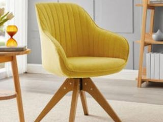 Modern Home Office Swivel Arm Accent Chair with Wood legs  Retail 164 99