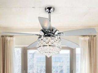 Chrome 4 light Chandelier Crystal 5 Blade Ceiling Fan with Remote  Retail 176 49