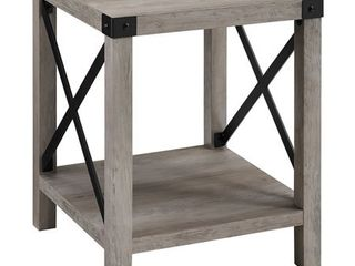 18 inch Square Wood and Metal X Side Table in Gray Wash