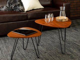 Walker Edison Hairpin leg Wood Nesting Coffee Table Set