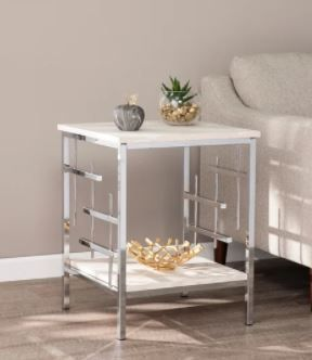 Silver Orchid Fleury Faux Marble End Table  Retail 133 99