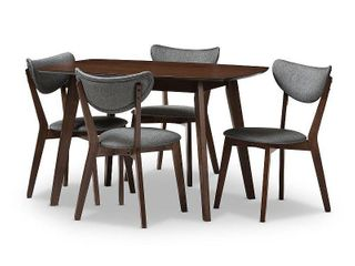 5pc Hadrea Mid Century Modern Walnut Finished Fabric Upholstered Dining Set Dark Gray   Baxton Studio