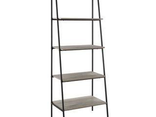 72 inch Metal  amp  Wood ladder Shelf   Grey Wash