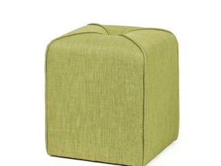Homebeez Modern Simple Cushioned Ottoman Cube Footrest  Green