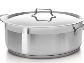 Hascevher Classic 18 10 Stainless Steel Dutch Oven Covered Stockpot Cookware Induction Compatible Oven Safe 8 5 Quart