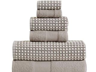 Porto 6 Piece Dual Tone Towel Set with Jacquard Grid Pattern The Urban Port  Beige
