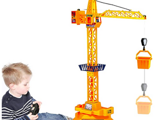 Ziwing large Wired Remote Control Tower Crane Construction Playset Toy for Toddlers Kids Boys Girls Birthday Crane Toy with 360 Degree Rotation   Tower light   lift Model Functions