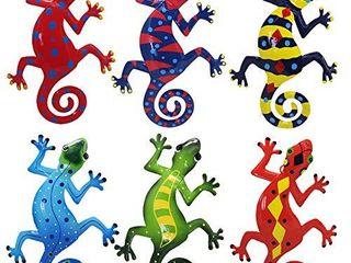 Juegoal 6 Pack Metal Gecko Wall Art Decor Inspirational Sculpture Hang Indoor Outdoor for Home Bedroom living Room Office Garden  9 Inches