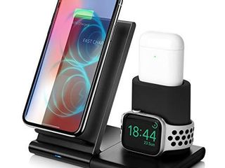 Wireless Charger 7 5W Fast Wireless Charging Stand Compatible iPhone 11 11 Pro 11 Pro Max XS Max XS XR X 8 8 Charging Dock Organizer Compatible Apple Watch AirPods No AC Adapter