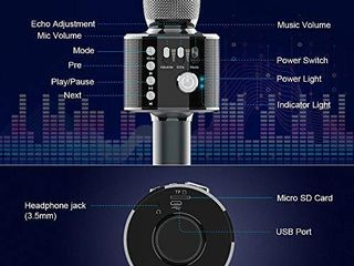 Bluetooth Karaoke Microphone   Xpreen Wireless Microphone  Portable Microphone and Speaker  Car Microphone for Home Party  Karaoke Microphone for Kids Suitable Android iPhone PC or All Smartphone