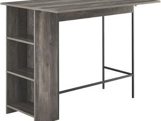 48  Counter Height Drop leaf Table With Storage   Grey Wash