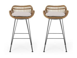 Dale Wicker Barstools with Cushions  Set of 2  by Christopher Knight Home