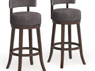 Furniture of America Fendeson Nailhead Swivel Barstool  Set of 2  Grey