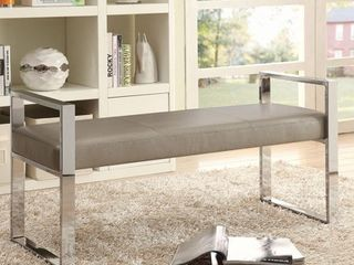 Contemporary Champagne leatherette Bench w Chrome legs   48  x 18  x 23 5  by Coaster