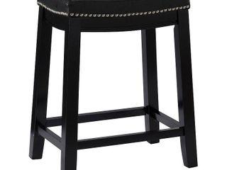 Claridge leather Saddle Counter Height Barstool Black   linon