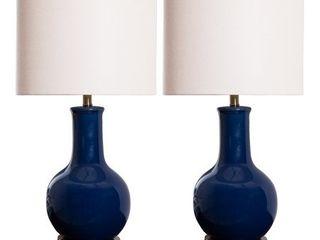 Abbyson Gourd Navy Blue Ceramic 29 inch Table lamp  Set of 2
