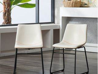 Roundhill lotusville Vintage PU leather Dinning Chairs  White  Set of 2