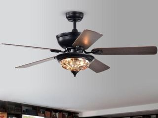 Warehouse of Tiffany CFl 8420REMO FB   52 in  Micago Indoor Remote Controlled Ceiling Fan with light Kit   Black