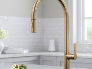 KRAUS Oletto High Arc Single Handle Pull Down Sprayer Kitchen Faucet in Spot Free Antique Champagne Bronze