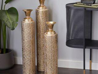 Gold Metal Glam Vase  Set of 3    6 x 6 x 34