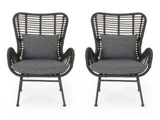 Montana Outdoor Wicker Club Chairs with Cushions  Set of 2  by Christopher Knight Home