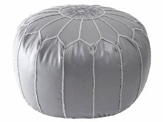 nulOOM Classic Moroccan lightweight Faux leather Ottoman Pouf   light Grey