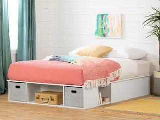 South Shore Vito Platform Storage Bed w  2 baskets   White   Full Size