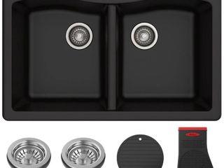 KRAUS Forteza Dual Mount 50 50 Double Bowl Granite Kitchen Sink in Black
