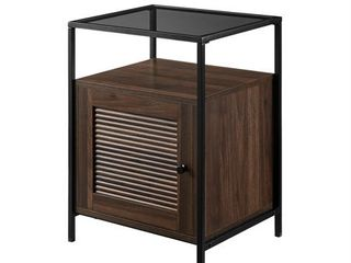 18  Fluted Door Modern End Table   Dark Walnut