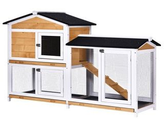PawHut 2 tier Wood Rabbit Hutch Backyard Cage Small Animal House with Entrance Ramp  lockable Doors    large Outdoor Run