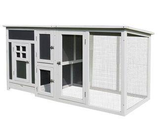 PawHut 63  Wood large Indoor Outdoor Chicken Coop with Run  Nesting Box