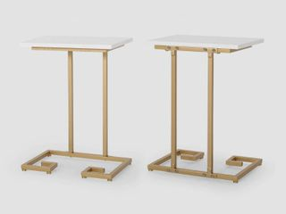 Ariade Modern Glam C Side Table  Set of 2  by Christopher Knight Home white  champagne gold
