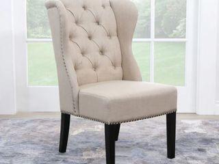 Abbyson Sierra Tufted Cream linen Wingback Dining Chair Cream