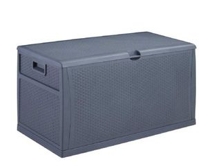 Ainfox 120 Gallon Patio Storage Deck Box Outdoor Storage Plastic Bench Box 47 2  l x 24 01 Resin Wicker Storage Container Bench Seat  Gray