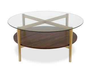 ludo coffee table in gold with walnut shelf