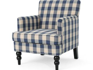 lOT OF TWO  Blue Checkerboard  Harrison Tufted Fabric Club Chair by Christopher Knight Home