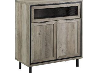 30  Mesh Metal Drop Down Door Accent Cabinet   Grey Wash