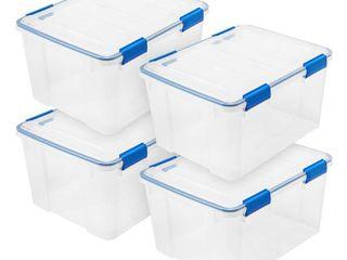 IRIS USA 44 Qt WEATHERTIGHT Storage Box with latches  4 Pack