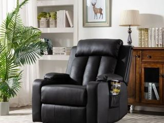 Furnia Faux leather Recliner w  Dual Cup Holders