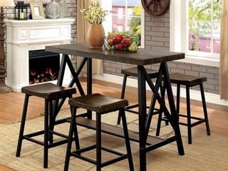 Furniture of America Hollenbeck Rustic Medium Weathered Oak Counter Height Table by FOA